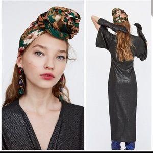 ZARA TRAFALUC Knot Front Black & Metallic Dress